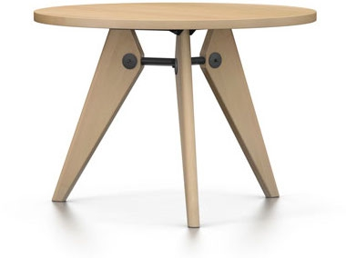 Vitra em table with wooden table top jean prouvé