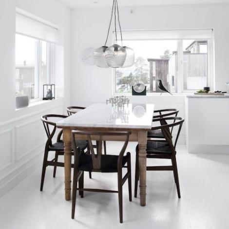 Wishbone Chair Ch24 Natural Wood, Black Wishbone Chairs Dining Room