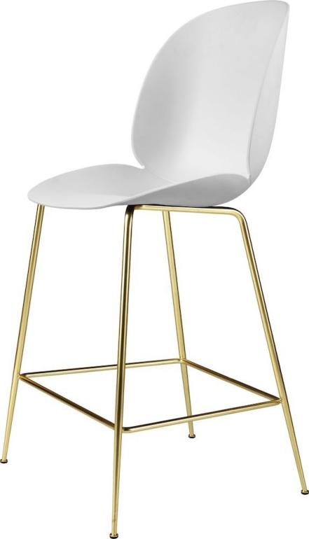 Gubi chaise de bar Beetle, coque plastique, pieds métal