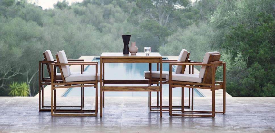 Carl Hansen Indoor Outdoor Dining Chair Table Design Bodil Kjaer 1959