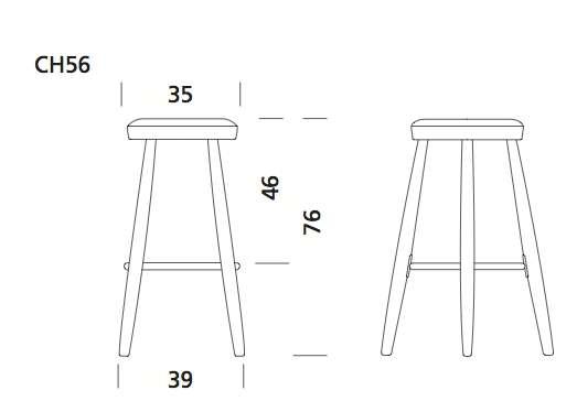 CH56 and CH58 bar stool, Hans J. Wegner, Carl Hansen & Son