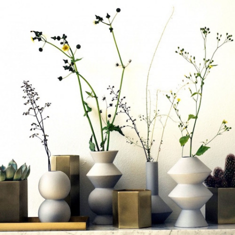 Ferm living hexagon pots vases plant stand and plant for Ferm living vase