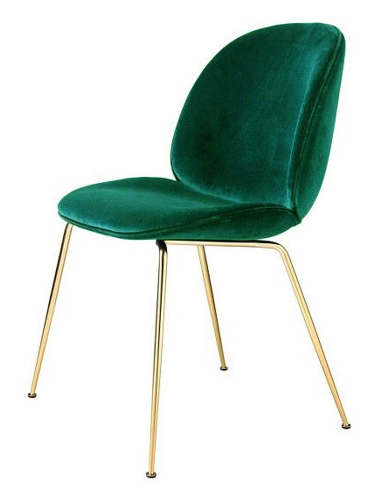 Gubi beetle chair metal legs fully upholstered shell - Chaise velours capitonnee ...