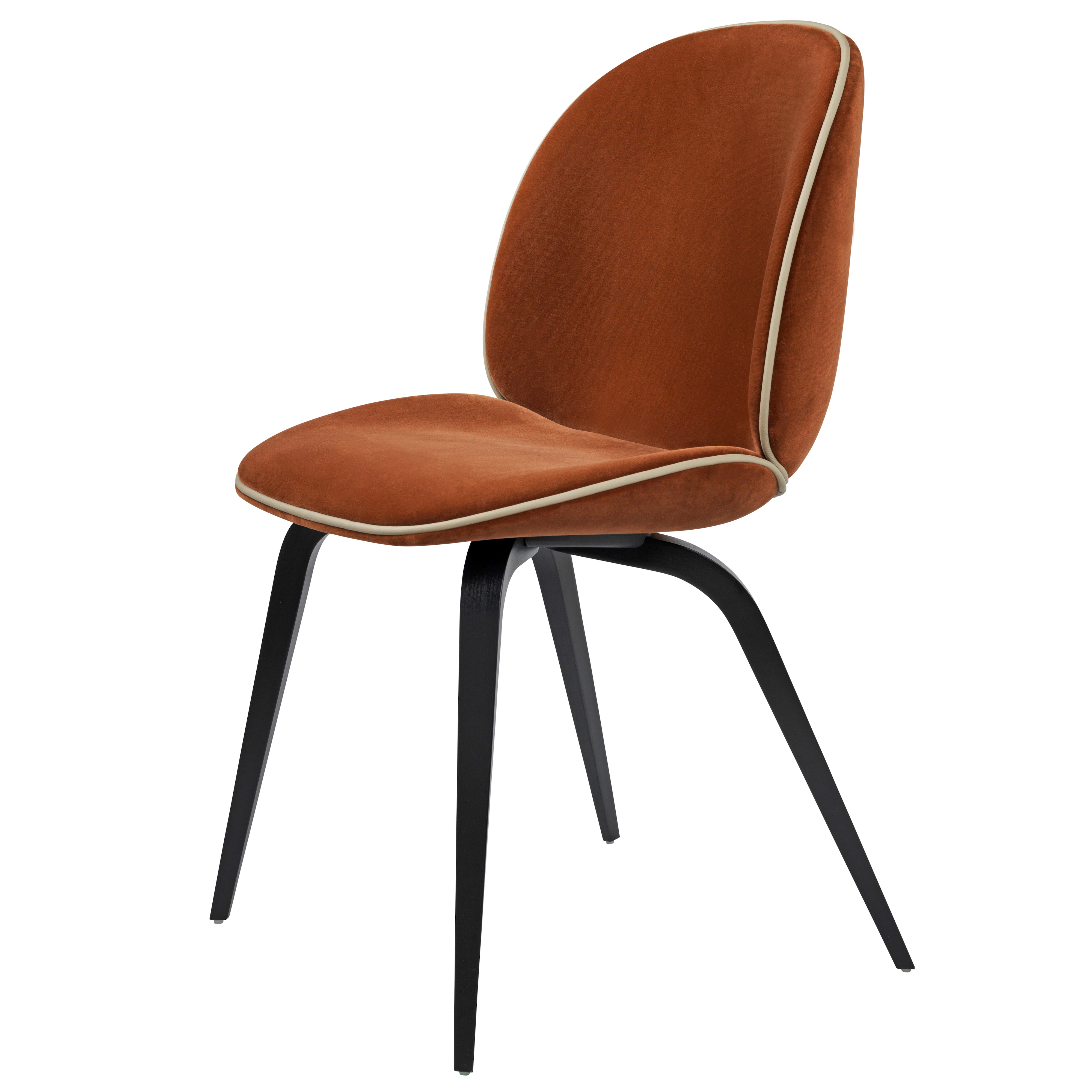 Gubi beetle chair with wooden base fully upholstered for Sedie design velluto