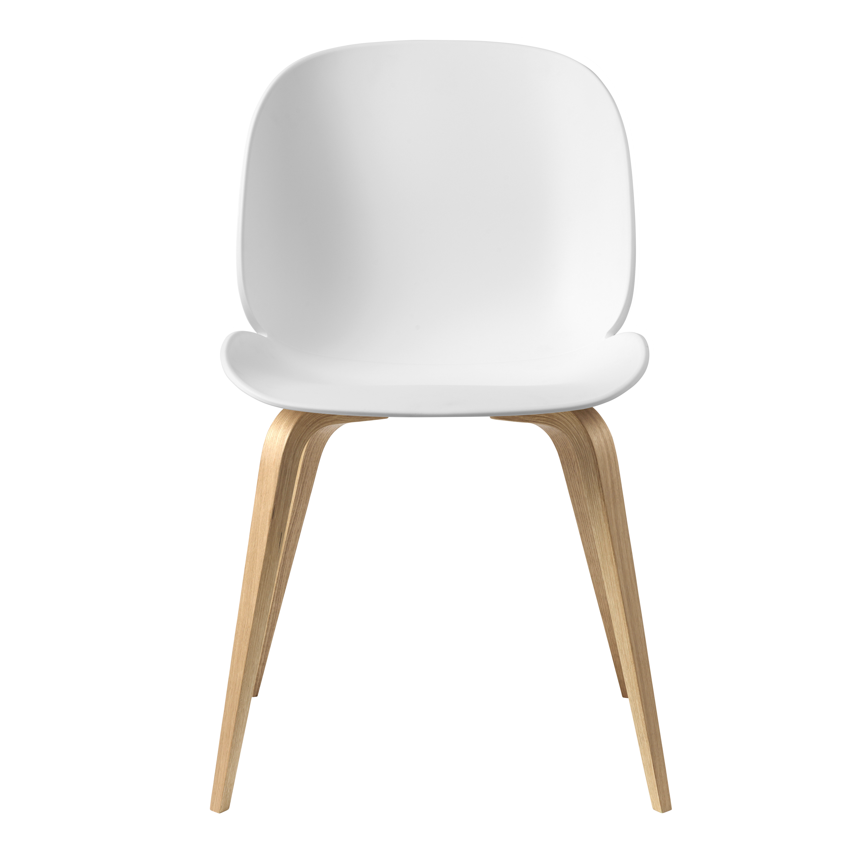 Gubi Beetle plastic chair wooden legs