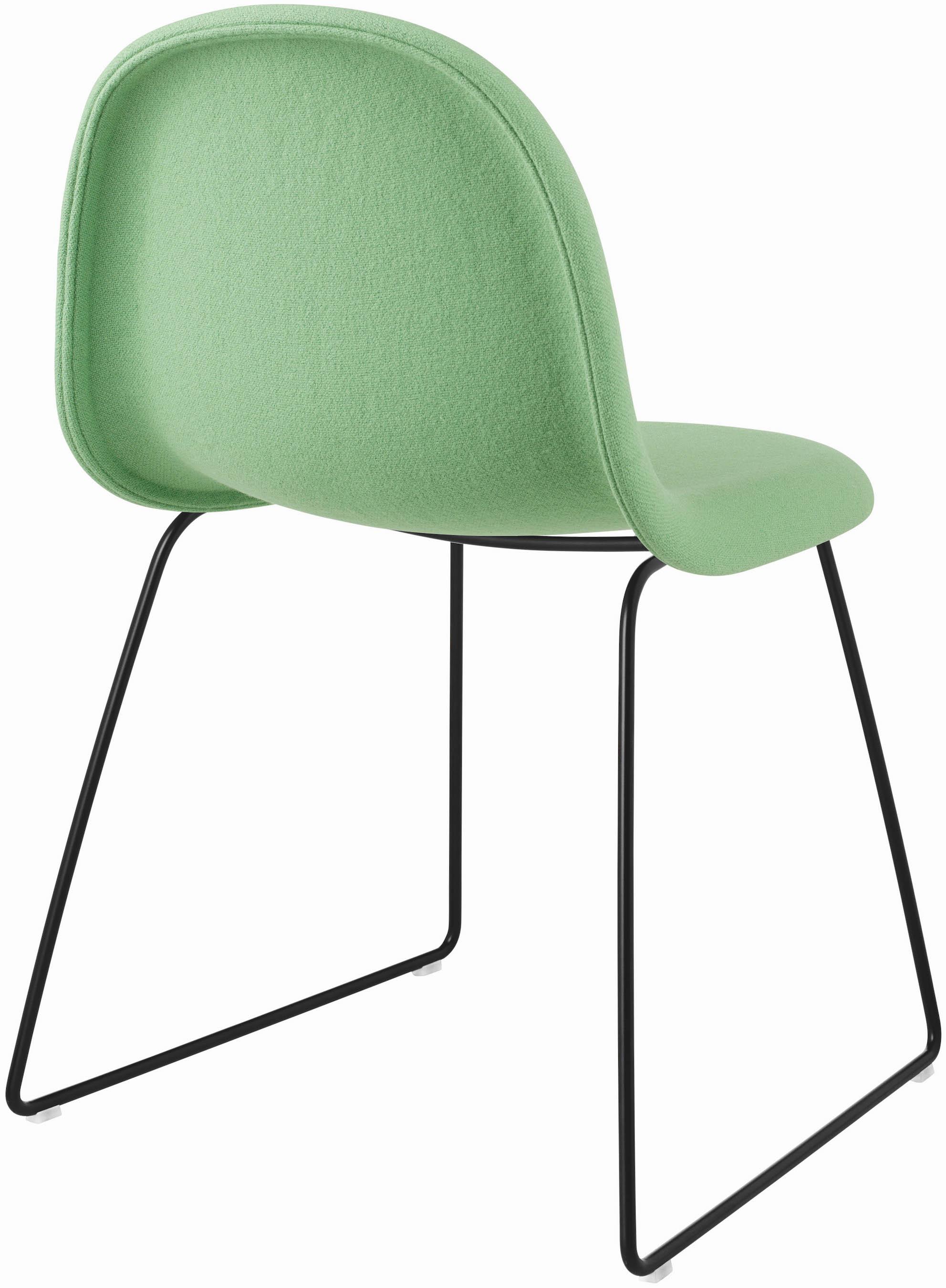 Fully Upholstered   Black Sledge Metal Base   Light Green Fabric Tonus 505